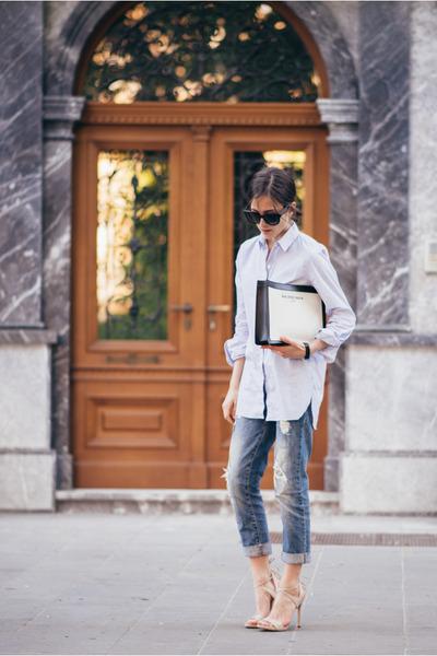 Zara shirt - balenciaga bag - Celine sunglasses - Guess sandals