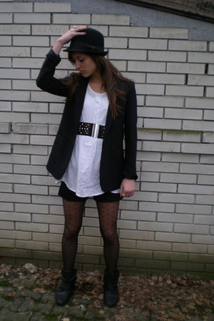 black H&M blazer - white Topshop shirt