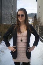 pink H&M dress - black H&M blazer - black