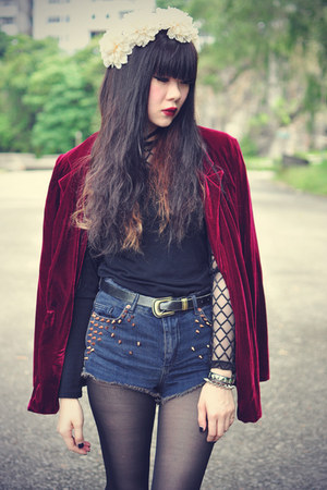 velvet blazer - boots - denim Topshop shorts - floral crown accessories