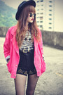 Crop-top-top-leather-boots-oasap-hat-jacket-studded-cagecity-shorts