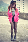 Leather-boots-oasap-hat-jacket-studded-cagecity-shorts-round-sunglasses