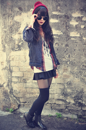 denim jacket - overknee socks - round sunglasses - Choies skirt