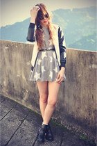 Choies boots - Fash-allure dress - leather Choies jacket - round sunglasses