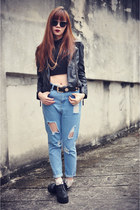 FEMMEX bag - harem jean Choies jeans - Sheinside jacket - Choies sunglasses