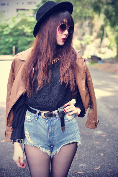 leather ianywear jacket - boots - Forever 21 hat - denim shorts