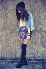Denim-jacket-levis-jacket-creepers-shoes-round-sunglasses-vintage-skirt