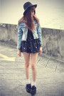 denim OASAP jacket - creepers shoes - Choies dress - hat - round sunglasses