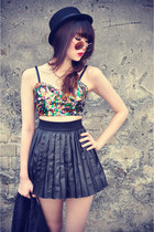 leather skirt - Forever 21 hat - round sunglasses