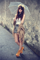 litas Jeffrey Campbell heels - denim shorts shorts - necklace - top
