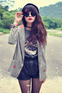 Forever-21-boots-vintage-blazer-leather-shorts-round-sunglasses