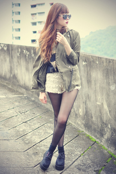 creepers Chicwish shoes - younghungryfree blazer - crochet Chicwish shorts