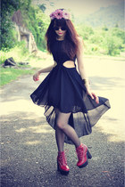 leather Jeffrey Campbell boots - luluscom dress - floral crown accessories