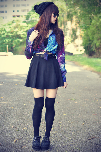 galaxy OASAP shirt - creeper shoes - round sunglasses - beanie accessories
