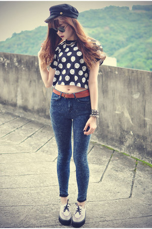 Topshop top - creeper Udobuy shoes - Choies hat - H&amp;M belt