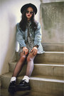 Creepers-shoes-vintage-motel-rocks-dress-oasap-hat-levis-jacket