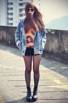 boots - denim jacket - Sheinside shorts - Choies sunglasses - Choies sweatshirt