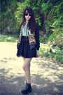 Boots-skull-jacket-denim-shirt-chiffon-skirt