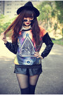 Oasap-hat-leather-shorts-round-sunglasses-leather-choies-top