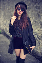 Dr Martens shoes - Zara coat - Forever 21 hat - lulus shorts - cross blouse