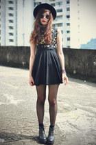 boots - OASAP hat - sunglasses - Choies skirt - Choies top