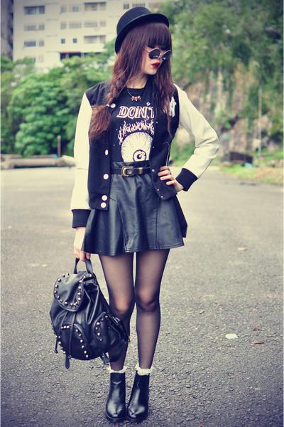 leather boots - Forever 21 hat - baseball jacket Choies jacket