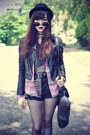 Forever 21 hat - faux leather Motel Rocks jacket - shirt - Choies bag