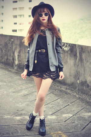 baseball jacket jacket - leather boots - sheer lace Sheinside dress - hat