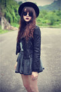 Creepers-shoes-forever-21-hat-jacket-neon-socks-peace-top-skirt