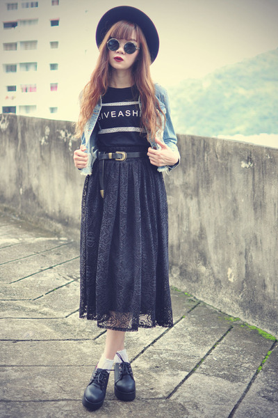 ianywear skirt - Oasapcom hat - Oasapcom jacket - choiescom sunglasses