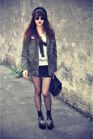 oversized jacket - creepers shoes - round sunnies sunglasses - cross top - skirt