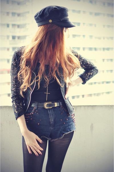 lace Sheinside jacket - Topshop shorts - cap Choies hair accessory