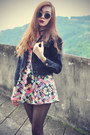 Floral-chicwish-dress-denim-jacket-retro-round-choies-sunglasses
