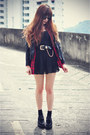 Creepers-shoes-leather-chicwish-jacket-blaqmagik-shirt-round-sunglasses