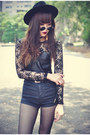 Oasap-hat-topshop-shorts-round-sunglasses-pu-with-lace-motelrocks-top
