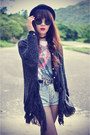 Skull-t-shirt-forever-21-hat-cross-shirt-denim-shorts-shorts