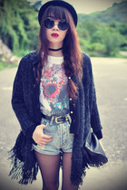 skull t-shirt - Forever 21 hat - cross shirt - denim shorts shorts