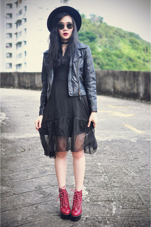 Sheinside jacket - Jeffrey Campbell boots - Choies dress - OASAP hat