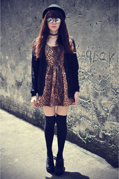 creepers shoes - leopard print dress - Forever 21 hat - knitted cardigan