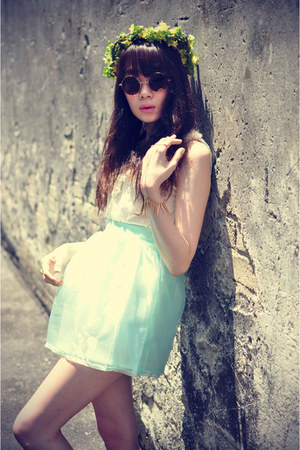 mint skirt - sunglasses - Forever 21 top