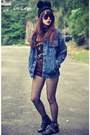 Choies-boots-denim-jacket-choies-jacket-leopard-print-shorts