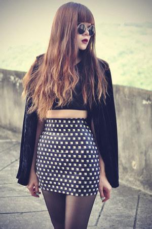 stud print Lovelysally skirt - velvet blazer - round sunglasses - top