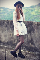 creeper shoes - Chicwish dress - OASAP hat - round sunglasses