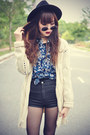 Leather-boots-oasap-hat-topshop-shorts-round-sunglasses-knitted-cardigan