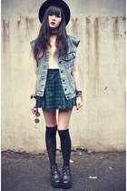 denim vest - boots - OASAP hat - overknee socks - plaid Chicwish skirt