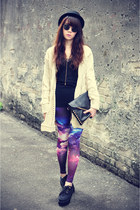 galaxy Sheinside leggings - knitted cardigan