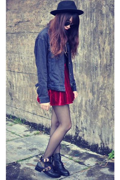 velvet skirt - Choies boots - Forever 21 hat - oversized denim jacket