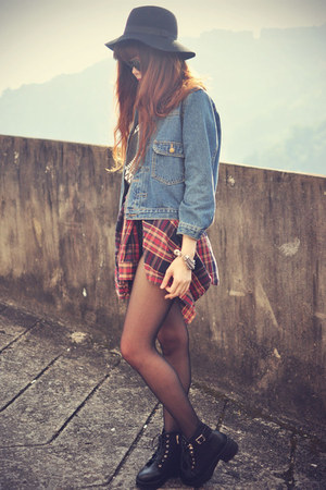 denim BLAQMAGIK jacket - Choies boots - hat - shirt - shorts - sunglasses