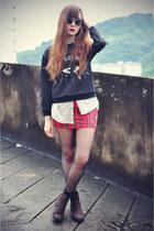 Lovelysally skirt - Choies boots - Choies sweater - sunglasses - Choies blouse
