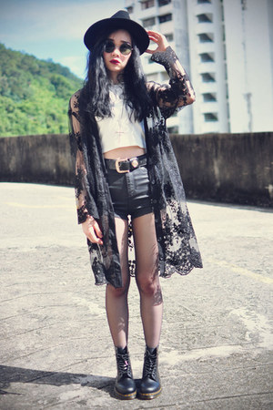 younghungryfree cardigan - Dr Martens boots - OASAP hat - Topshop shorts